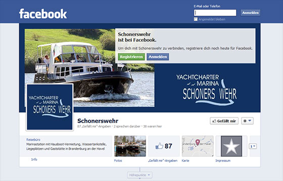 Screenshot Facebook-Seite