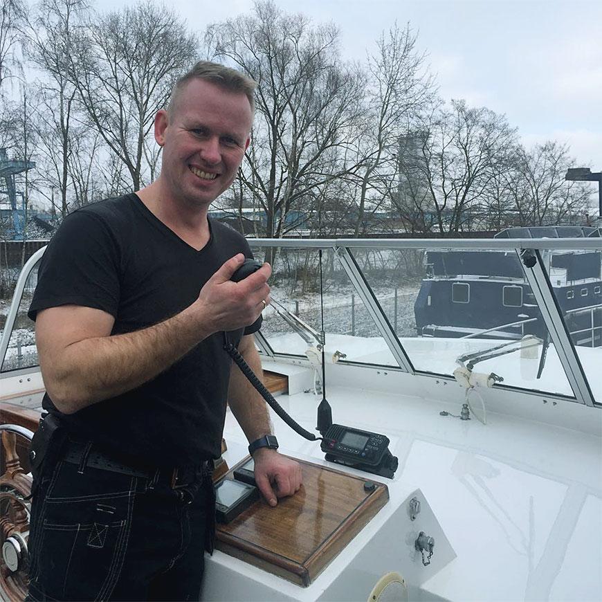 Hafenmeister Dirk beim Test