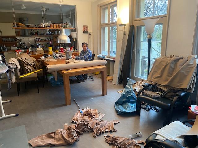 Gardinen-Studio für Hausboot im Homeoffice